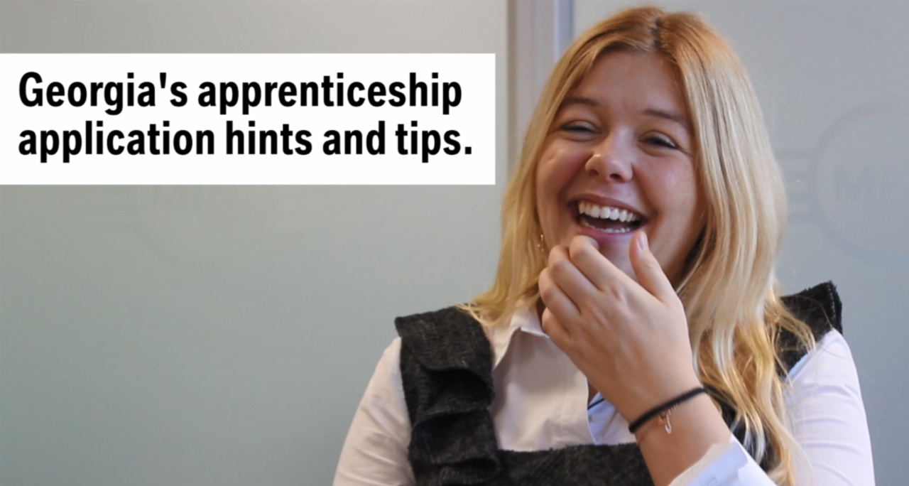 Future Talent Adviser Georgia laughing while presenting apprenticeship application hints and tips